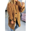Women's Winter Long Sleeve Notched Lapel Collar Button Front Fur Coat