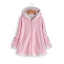 Winter's Long Sleeve Hooded Zip Up Mohair Coat for Women