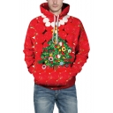 New Fashion Red 3D Christmas Tree Pattern Long Sleeve Loose Fitted Hoodie