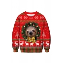 Classic Snowflake Deer Pattern Round Neck Long Sleeve Regular Fitted Sweatshirt