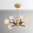 Modern Brass Chandelier 24/36/54W LED Neutral Light 8/12/18 Head Cubic Ice Chandeliers Multi Light Clear Crystal Suspension Light