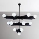 Post Modern 2 Tier/3 Tier LED Chandelier in Black Finish 10/18 Light Frosted Glass Globe Chandelier Light for Living Room