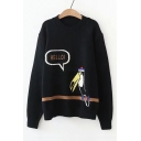 Letter HELLO Bird Printed Crewneck Long Sleeve Pullover Sweater