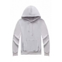 Basic Simple Solid Long Sleeve Regular Fitted Hoodie