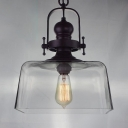 Industrial Square Hanging Pendant 1 Light Suspension with Clear Glass Shade in Black Finish for Cafe