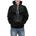 Black New Trendy 3D Lion Pattern Long Sleeve Oversize Hoodie