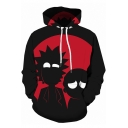 Fashion Two-Tone Black and Red 3D Cartoon Character Printed Long Sleeve Unisex Hoodie