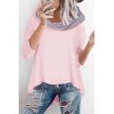New Chic Color Block Cowl Neck Long Sleeve Asymmetric Hem Loose Hoodie