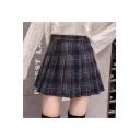 Girls' Winter Classic Check Pattern High Rise Mini A-Line Pleated Woolen Skirt