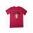 Fashion Letter University Badge Printed Round Neck Short Sleeve Cotton T-Shirt