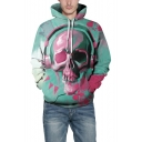 Stylish Painted Skull Pattern Long Sleeve Sports Unisex Blue Hoodie