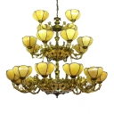 3-Tier Yellow Flower Shade Tiffany Inverted Chandelier with Multicolored Jewels Accented Center Bowl