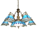 Nautical Style Blue Checkered Square Shade Center Bowl Chandelier with Mermaid Arms