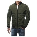 Men's Color Block Long Sleeve Stand Collar Zip Up Bomber Jacket
