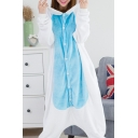 Unisex Fleece Color Block Button Front Long Sleeve Cosplay Unicorn Costume Onesie Pajamas