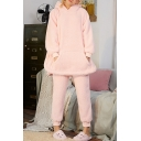 Cute Cartoon Bear Ear Coral Fleece Casual Leisure Solid Loungewear Outfits