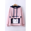 Cartoon Cat Patched Pocket Fashion Two-Tone Long Sleeve Hoodie