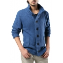 Men's Trendy Solid Long Sleeve Stand Collar Button Closure Cable Knit Cardigan