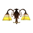 Tiffany Style Wall Sconce Stained Glass Lampshade 2-Light Indoor Fixture