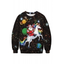 3D Star Santa Claus Pattern Round Neck Long Sleeve Black Sweatshirt
