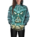 Fashion 3D Green Night Owl Pattern Long Sleeve Casual Loose Hoodie