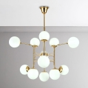 Decorative Light Fixture Dining Living Room Gold Large Chandelier 12/16/24 Light Glass Globe Chandelier in Frosted Shade