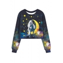Moon Star Galaxy Unicorn Pattern Round Neck Long Sleeve Navy Sweatshirt
