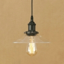 Industrial Ceiling Pendant 1 Light with Railroad Shade Clear Glass in Black/Brass for Foyer