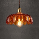 Light Brown Glass Hanging Pendant 1 Light with Floral Shade for Bar Warehouse, in Brass