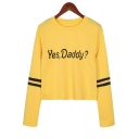 Fashion Striped Long Sleeve Round Neck Letter YES DADDY Print Yellow T-Shirt