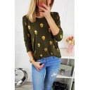 New Trendy Fashion All Over Skull Printed Round Neck Long Sleeve T-Shirt for Women