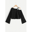 Letter Printed Strap One Shoulder Bell Sleeve Black Loose Cropped T-Shirt
