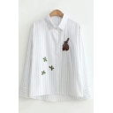 Cute Long Sleeve White Cotton Stripes Cartoon Rabbit Embroidered Lapel Collar Button Down Shirt