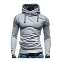 New Trendy Long Sleeve High Neck Basic Solid Slim Fitted Men's Hoodie