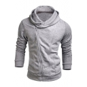 Unique Sloping Zip Up Long Sleeve Solid Fashion Slim Hoodie