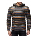 Winter's Fashionable Striped Print Long Sleeve Slim Fitted Hoodie for Men