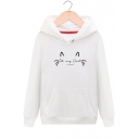 New Arrival Cartoon Letter OH MY CAT Pattern Long Sleeve Winter's Sports Hoodie