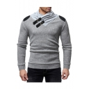 Men's New Stylish Buckle Neck PU Patched Shoulder Long Sleeve Fitted Sweater