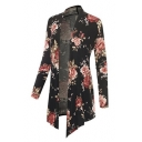 Fashion Black Floral Printed Long Sleeve Open Front Asymmetrical Coat
