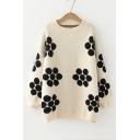Round Neck Long Sleeve Polka Dot Printed Loose Fitted Knit Sweater
