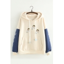 Lovely Cartoon Girl Printed Long Sleeve Colorblock Winter's Hoodie for Juniors