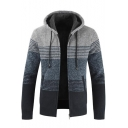 en's Autumn Long Sleeve Hooded Color Block Fitted Zip Up Coat