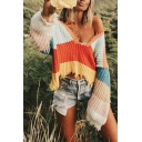 Unique Fringed Hem Long Sleeve V Neck Color Block Cropped Loose Fitted Sweater