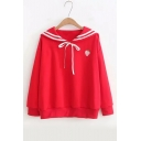 Girls' Striped Sailor Collar Strawberry Embroidered Long Sleeve Sweatshirt