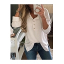 Ladies' Long Sleeve Stand Collar Button Front Slit Side Solid T-Shirt