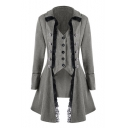 Unique Medieval Costume Long Sleeve Lace-Trimmed Button Down Front Asymmetric Coat