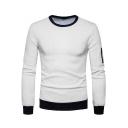 Men's New Fashion Jacquard Plaid Long Sleeve Crewneck Contrast Hem Fitted Sweatshirt