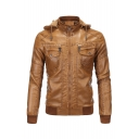 Men's Classic Stand Collar Hooded Long Sleeve Zip Up Slim Brown Faux Leather Jacket