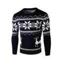 Fashion Deer Snowflake Printed Long Sleeve Crewneck Fitted Sweater