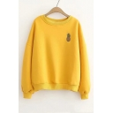 Chic Pineapple Embroidered Long Sleeve Round Neck Yellow Sweatshirt